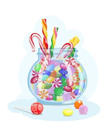 Assorted sweets in jar Vector illustration Illustration