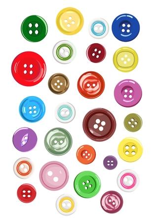 Satz verschiedene Formen von Knöpfen für Kleidung. Vektor-illustration Standard-Bild - 97362382