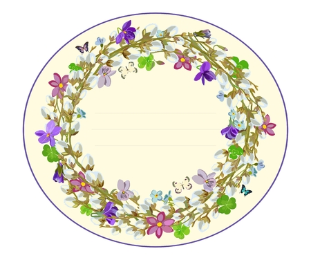 A Vector greeting card template with wreath of spring willow branches and violets on light background with space for text.  イラスト・ベクター素材