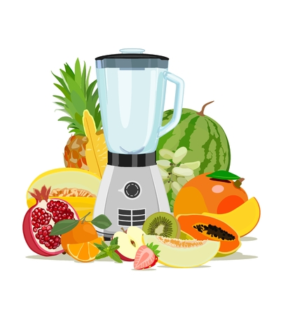 Cooking blender and fruit. Healthy eating. Fruits. Smoothies. Vector illustration Stock Illustratie