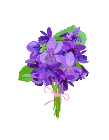 Vector bouquet of spring flowers with violets with pink ribbon, isolated on white background. Seasonal flowers. Spring.