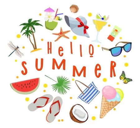 Plakat zum Thema Sommerferien. Sitzung der Sommer Vektorillustration. Standard-Bild - 97676916
