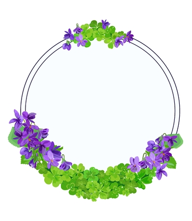 A Vector poster with composition of violets and clover in form of frame on white background with space for text. Great for greeting cards, Mother's day, wedding invitations. Standard-Bild - 97706622
