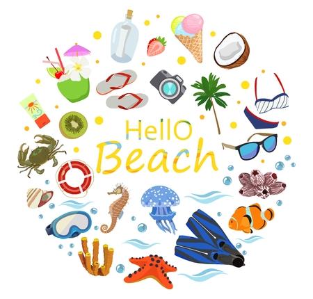 Poster am Thema des Meeres oder Ozean Strand Vektor Standard-Bild - 98164661