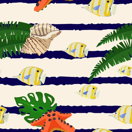 Seamless pattern with marine life on striped background. Vector illustration.