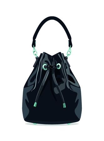 Original bag-pouch made of leather. Vector illustration. Illustration