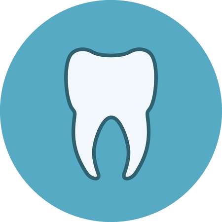 Simplified icon of silhouette of white tooth. Vector illustration