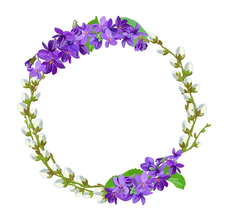 Flower frame of spring flowers and pussy-willow. Vector illustration. Standard-Bild - 98580316