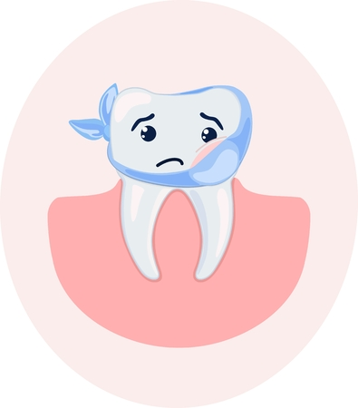 Cute stylized cartoon sick tooth. Vector illustration. Illustration