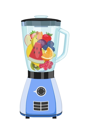 Vector icon with the image of an electric blue blender inside which the cut fruit. Kitchen chopper and mixer. Standard-Bild - 98580314