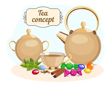 Tea set: tea pot, sugar bowl, cup of tea. Vector illustration. Standard-Bild - 98976358