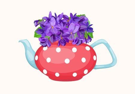 Bouquet of violets in teapot. Vector illustration. Standard-Bild - 98944520