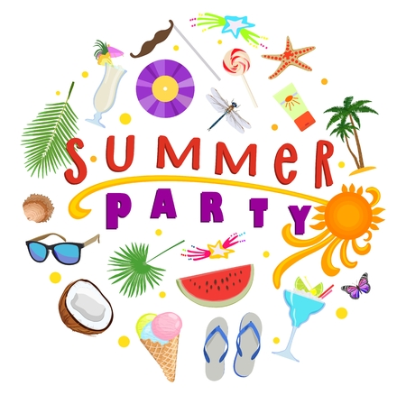 Vector poster with text Summer party with elements of leisure and sea on white background. Concept of design of summer beach holiday. 向量圖像