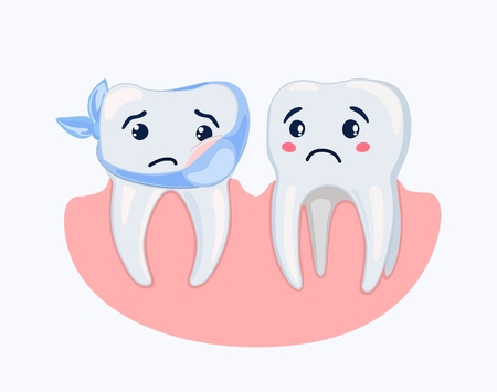 Vector icon with painted pretty root sick tooth and its experiencing friend. Concept of dental diseases. Dentistry and treatment.