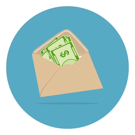 Money in envelope vector illustration.