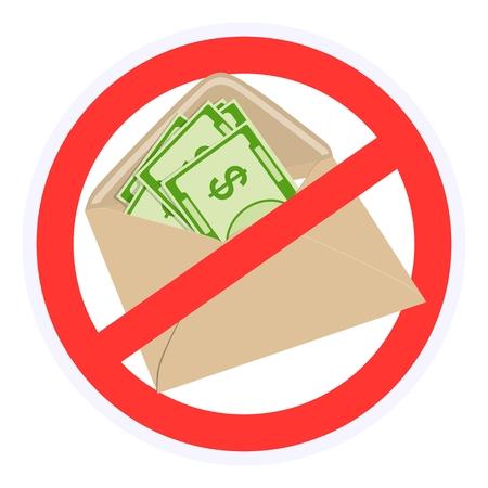 A sign prohibiting bribes in envelopes. Vector illustration. Standard-Bild - 99419739