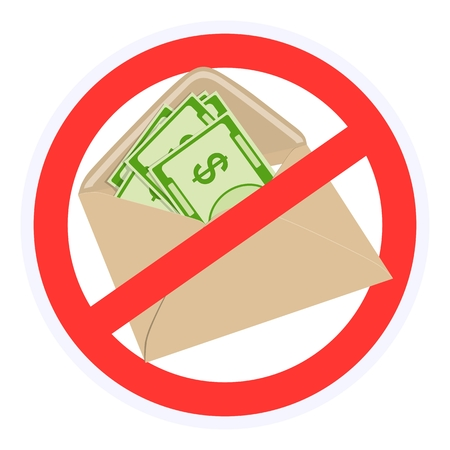 A sign prohibiting bribes in envelopes. Vector illustration.