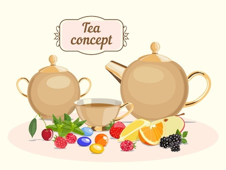 Vector color image of tea pot with sugar bowl and cup on background of caramel and mint, citrus, berry and handwritten text with an inscription. The concept of tea with additives. Standard-Bild - 99472119