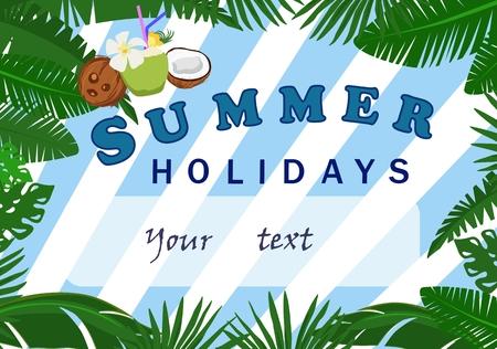 Vektor-Poster von einem Sommer Urlaub Vorlage mit Platz für Ihren Text auf einem Hintergrund von tropischen Blättern und blauen Streifen Standard-Bild - 99419746