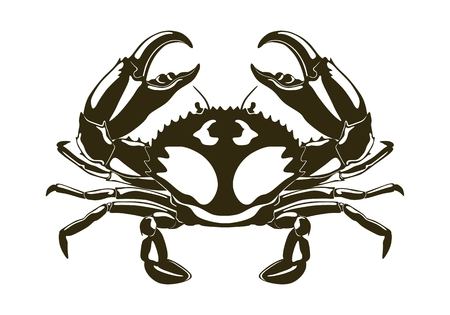 Dark crab silhouette with large claws. Vector illustration. Illustration