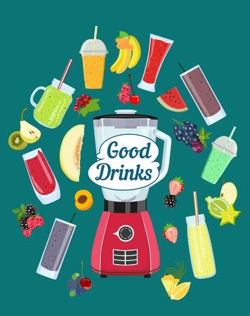 Kitchen blender and healthy fruit drinks. Vector illustration. Standard-Bild - 100122940