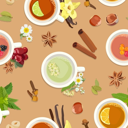 Seamless pattern with tea cups and delicious additives to tea. Vector illustration. Standard-Bild - 99976462