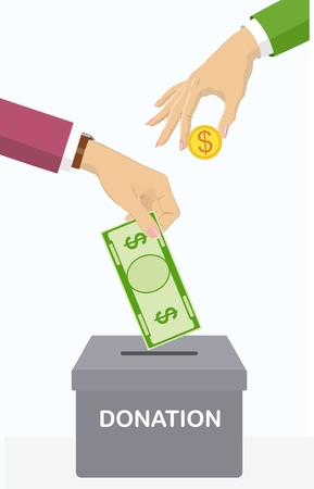 Vector poster on charity, patronage and donations: hands drop banknotes and coins into a donation box with text banner donate. Standard-Bild - 99971732