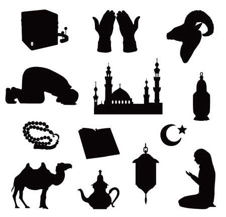 Vector silhouettes of symbols of an Islamic community mosques, praying people, Kaaba and Koran, rosary, ram's head and camel isolated on white background. Standard-Bild - 100297037