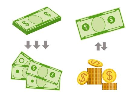 Concept of changing bills for smaller money. Vector illustration Standard-Bild - 100900748
