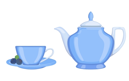 Tea set: tea pot and cup of tea. Vector illustration. Standard-Bild - 100893664