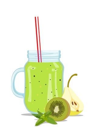 Fruit smoothie in glass jar. Vector illustration Standard-Bild - 101246433