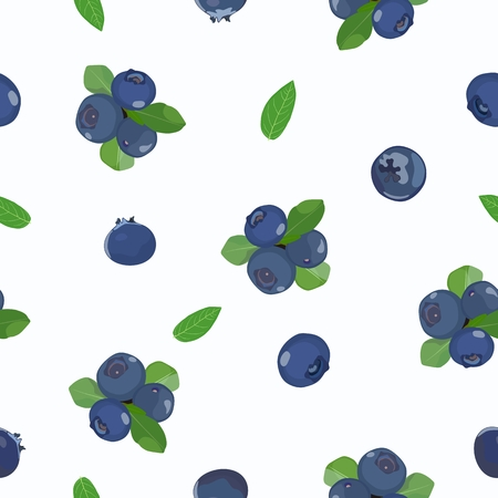 Vector pattern with berries and blueberries on a white background. Standard-Bild - 101554014
