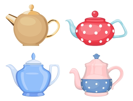 Vector set of ceramic teapots for tea and coffee of different shapes and colors, isolated on white background. Dishes for hot drinks Standard-Bild - 101248435