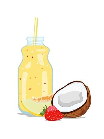 Fruit smoothie in glass jar. Vector illustration Standard-Bild - 102157782