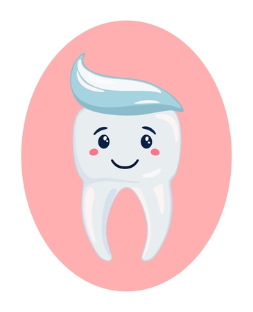 Icon healthy white tooth with toothpaste. Vector illustration Standard-Bild - 102195218