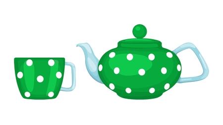 Tea set: tea pot and cup of tea. Vector illustration. Standard-Bild - 102157783