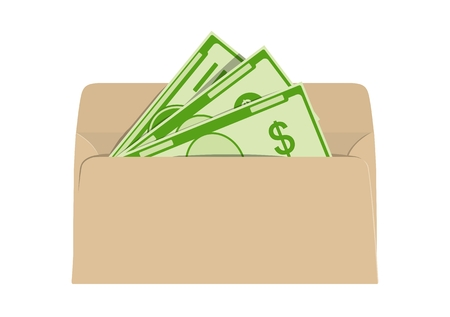 Money in envelope. Net and shadow income. Vector illustration.