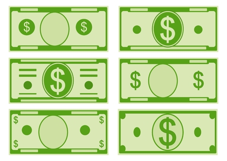 Vector set of green dollar bills icons isolated on white background. Banknotes. Currency and finance, banks and wealth. Standard-Bild - 102672438