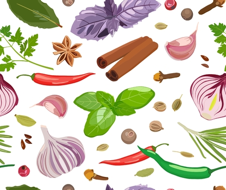 Seamless pattern with spices and seasonings on white background. Vector Standard-Bild - 103777848