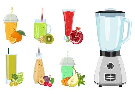 Juego de bebidas recién exprimidas en vasos y licuadora. Ilustración vectorial Ilustración de vector