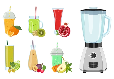 Set of freshly squeezed drinks in glasses and blender. Vector illustration