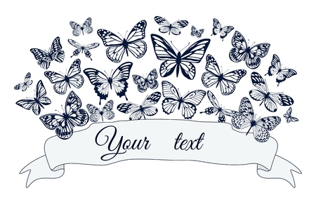 Poster with silhouettes of butterflies of different sizes. Vector illustration. Standard-Bild - 103750307