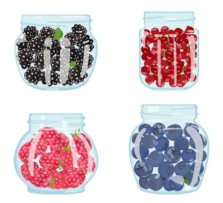 Set of jars filled with berries. Vector illustration Standard-Bild - 103732132