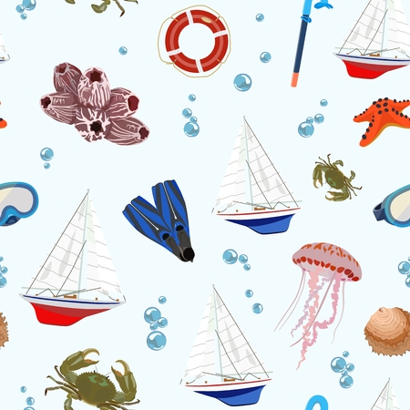 Vector pattern with sea regatta and mask, fins for diving and crab, jellyfish on light background among blue bubbles. Standard-Bild - 103732135