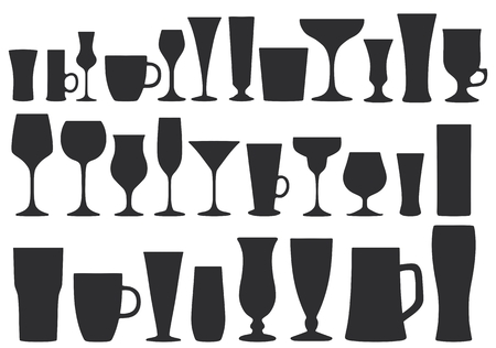 Collection of glasses for drinks. Dishes. Vector illustration. Standard-Bild - 104275731