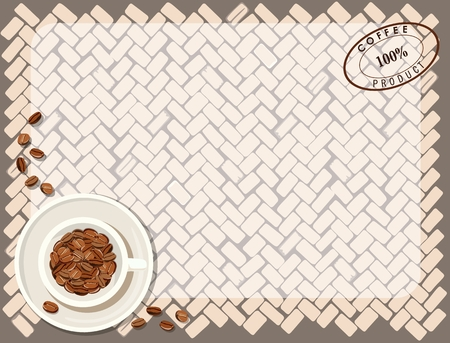 Background pattern with cup of coffee. Vector illustration Standard-Bild - 104275733