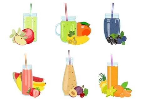 Color image of a smoothie of fruits and berries in glass bottles for drinks for a healthy lifestyle. Element for menu cafe or restaurant, for diets, vegetarianism and sports nutrition. Recipes Illustration