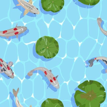 Wektor wzór wody i ryb karp Koi wśród lilii wodnych okrągłych liści, widok z góry. Do projektowania i dekoracji tkanin, tekstyliów domowych, tapet, okładek i ilustracji. Ilustracje wektorowe