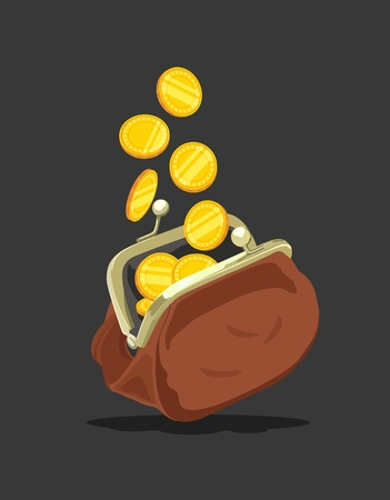 Brown wallet with coins. Vector illustration