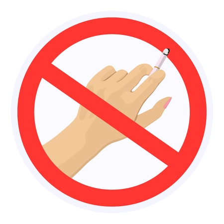 Vector image of hand with cigarette in red prohibitory sign. Concept of the ban on smoking. Health.